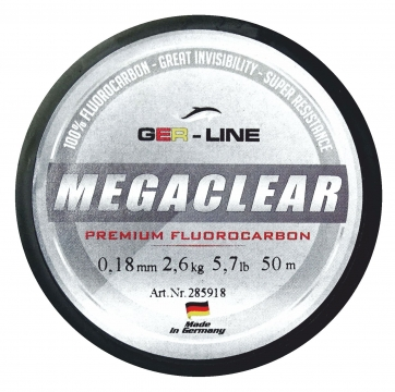 GER-Line MEGACLEAR Fluorocarbon Angelschnur MADE IN GERMANY -  GER-LINE® Angelschnur als Hauptschnur oder Vorfachschnur 50m Spul
